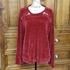 Sweater Size L Wine/Cranberry Like New